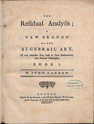 John Landen - The residual analysis, 1764