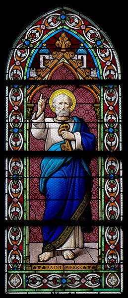Vitrail de l'église Saint-Martin de Landivy (53). 3ème travée du collatéral gauche. Saint-Pierre.
