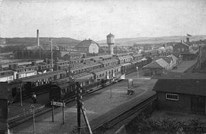 Langå-Struer Line - Langå Station in 1912.
