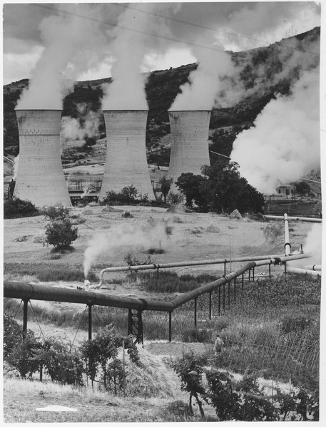Larderello, Italy. View of cooling towers and steam transformers at Number 2 power station - NARA - 541724