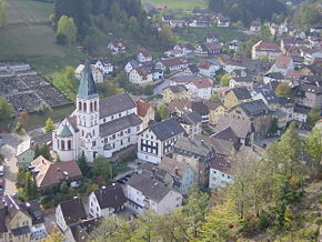 The centre of Lauterbach with Catholic church St Michael