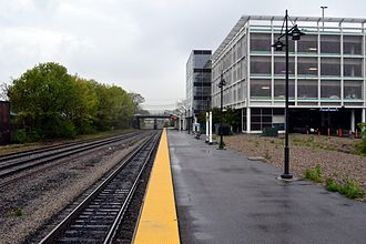 Lawrence (MBTA station) - 2005-built station platform and garage in 2012