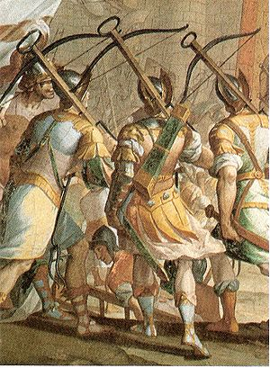 Genoese crossbowmen - Fresco by Lazzaro Tavarone at the Palazzo Cattaneo Adorno, depicting the crossbowmen of Genoa during the storming of Jerusalem.