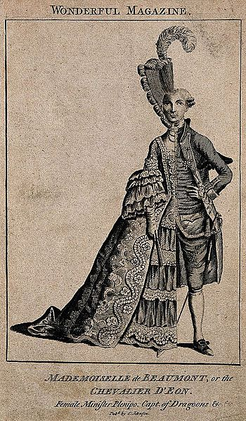 File:Le Chevalier D'Éon, a man who passed as a woman; shown half in woman's, half in man's attire. Wellcome V0007076.jpg