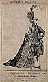 Le Chevalier D'Éon, a man who passed as a woman; shown half in woman's, half in man's attire. Wellcome V0007076.jpg
