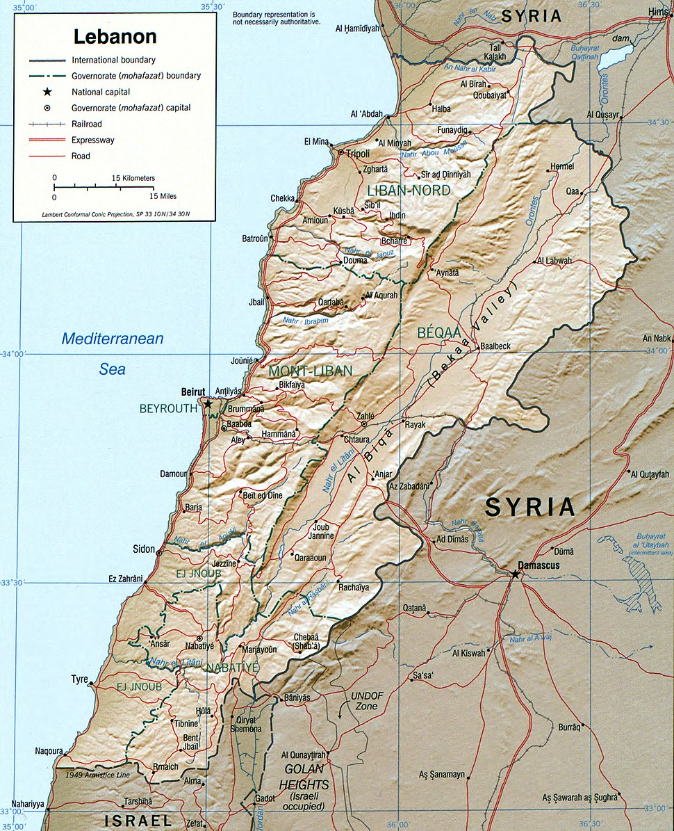 Lebanon 2002 CIA map