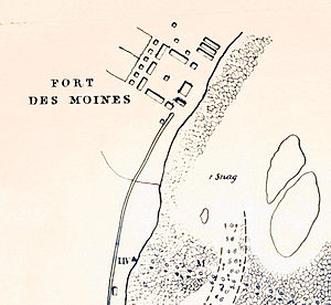 Des Moines Rapids - Robert E. Lee map of the head of the Rapids, 1837, showing Fort Des Moines No. 1, later Montrose, Iowa.