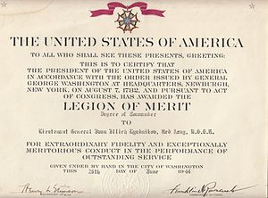 Ivan Lyudnikov - Lyudnikov's Legion of Merit citation