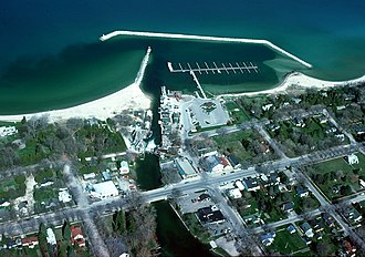Leland, Michigan - Aerial view of the shore and harbor of Leland