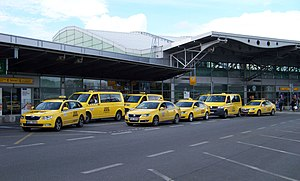 Taxicab stand - Taxi stand at Prague Ruzyně Airport, Prague, Czech Republic