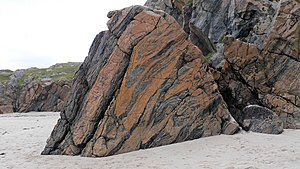 Lewisian complex - Outcrop of weathered Lewisian gneiss, 5 km NW of Loch Inver