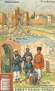 An advertisement card from 1910 depicting Khaiber Pass.
