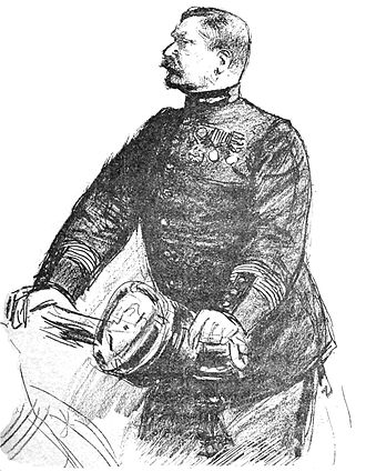 Hubert-Joseph Henry - Henry at the 10th session of the Zola trial, 1898, by Louis Rémy Sabattier for l'''Illustration''