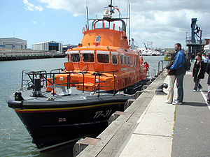 Forecastle - Foredeck of Severn-class lifeboat No. 17-31 at quay in Poole Harbour, Dorset, England.
