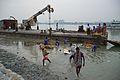 Lifting Immersed Durga Idol Remains - Baja Kadamtala Ghat - Kolkata 2015-10-22 6602.JPG