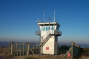 Lilstock - Royal Navy Aircraft Range, Lilstock. It is used as a lookout during gunnery practice over the sea.