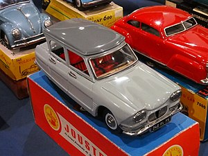 Model car - Citroen Ami 6 sedan pressed tin toy from Joustra of France.