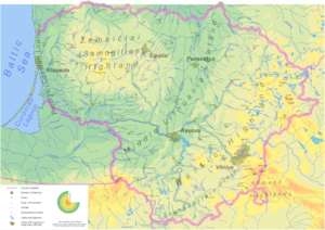 Geography of Lithuania - Detailed relief map of Lithuania