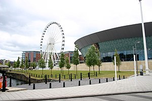 English: Wheel of Liverpool situated by the Ec...