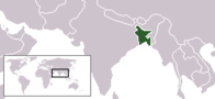 A map showing the location of Bangladesh
