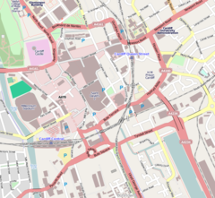 Map of Cardiff, Wales showing the BBC Wales headquarters building location