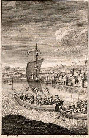 The Rape of the Lock - Belinda sails down the Thames to Hampton Court attended by sylphs; a copperplate engraving by Anna Maria Werner (1744)