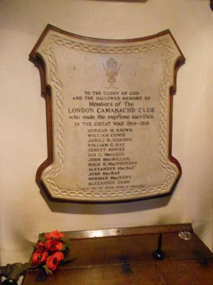 London Camanachd - London Camanachd War Memorial