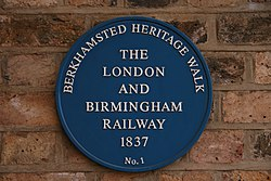 Photo of London and Birmingham Railway blue plaque