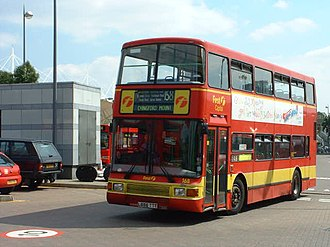 First London - Northern Counties Palatine II-bodied Volvo Olympian on 158 at Stratford bus station in July 2000.