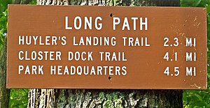 Long Path - Long Path mileage sign in Palisades Interstate Park