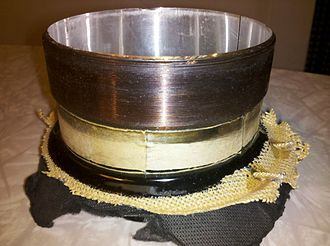 Voice coil - A three-inch diameter dual voice coil from a subwoofer driver