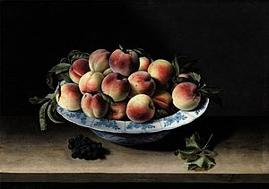 Still Life with Peaches on a Ledge