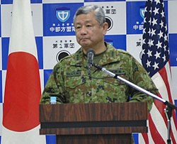Lt. Gen. Junji Suzuki, commander of the Japan Ground Self-Defense Force Middle Army, answer questions from the media during the Yama Sakura 69 press conference at the Middle Army headquarters.jpg