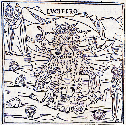 Illustration of Lucifer in the first fully illustrated print edition. Woodcut for Inferno, canto 33. Pietro di Piasi, Venice, 1491. Lucifer from Petrus de Plasiis Divine Comedy 1491.png