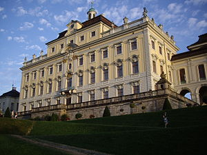 Ludwigsburg Palace - Old Hauptbau, looking south and east. Note the mansard roof and attic attached the top and center of this corps de logis.