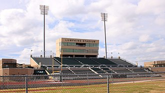 Southwestern Assemblies of God University - SAGU shares a stadium with Waxahachie High School at Lumpkins Stadium for football.