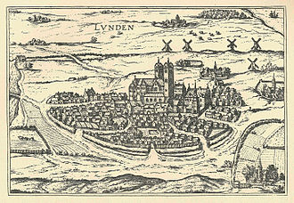 Lund - An engraving of Lund in or around 1588.  By Frans Hogenbergs in the pictorial work Civitates orbis terrarum (the cities of the world).