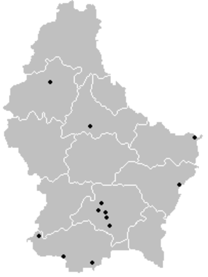 2004–05 Luxembourg National Division - Locations of participating teams across Luxembourg.