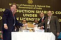 M. Veerappa Moily and the Union Minister for Petroleum and Natural Gas, Shri Murli Deora witnessing the signing ceremony of the production sharing contracts under New Exploration Licensing Policy (NELP-VIII), in New Delhi.jpg