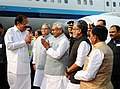 M. Venkaiah Naidu being received by the Governor of Bihar, Shri Satya Pal Malik, the Chief Minister of Bihar, Shri Nitish Kumar and the Deputy Chief Minister, Shri Sushil Kumar Modi, on his arrival, in Patna, Bihar.jpg