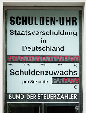 Debt clock - Debt clock of the German Taxpayers Federation shows its prognosis about the public debt of Germany