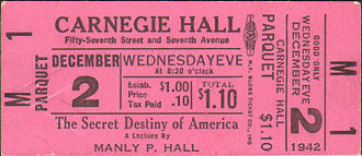 Manly P. Hall - Ticket for Manly P. Hall at Carnegie Hall, Dec. 2, 1942