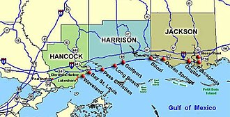 Moss Point, Mississippi - Moss Point, Mississippi (right edge) is north of Pascagoula, on U.S. Route 63, north of the Gulf of Mexico.