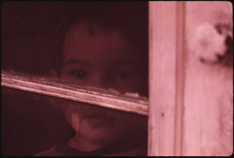 File:MULKY SQUARE CHILD LOOKS OUT OF SCREEN DOOR ON A RAINY DAY HIS FAMILY OCCUPIES PART OF A BUILDING THAT WILL SOON BE... - NARA - 553554.jpg