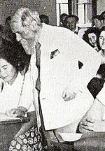 מרטין בובר בשיעור באוניברסיטה העברית