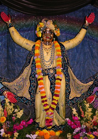 Gaudiya Vaishnavism - A murti of Chaitanya in ISKCON temple, Mayapur