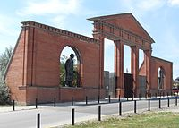 Main entrance of the Memento Park with Lenin, Marx and Engels.JPG