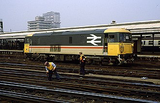 Clapham Junction railway station - A British Rail Class 73 with track workers maintaining the railway in 1986 under British Rail.