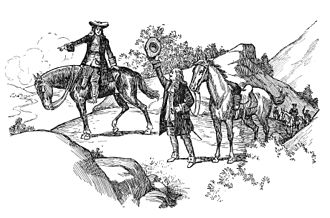 "Knights of the Golden Horseshoe Expedition - Engraving of Gov. Spotswood and the ""Knights of the Golden Horseshoe"" crossing the Blue Ridge Mountains"