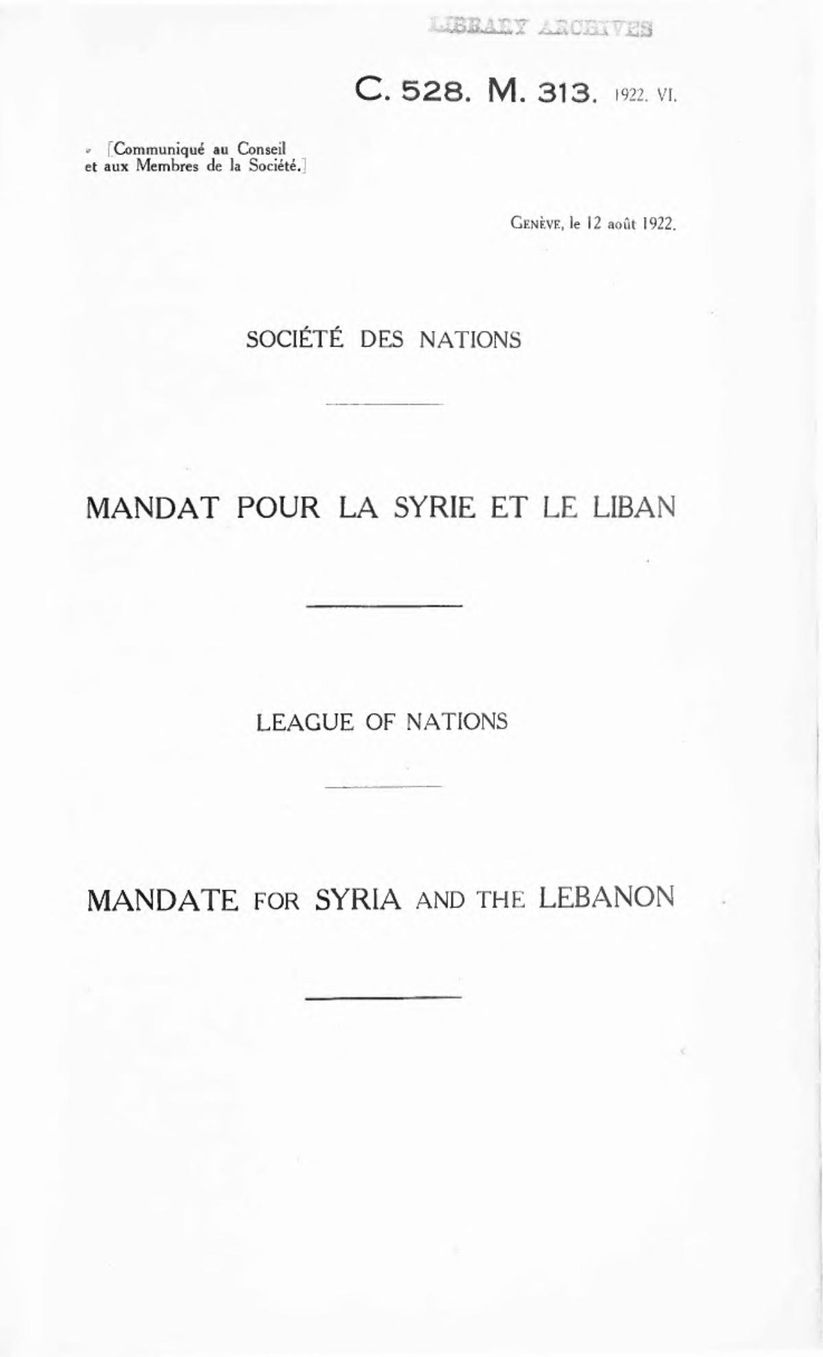 Mandate for Syria and the Lebanon - Wikipedia
